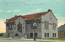 c1907 Printed Postcard; Carnegie Library, Pasco WA Benton County, posted