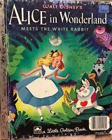 Alice in Wonderland Meets White Rabbit Vintage 1951 Disney Little Golden Book