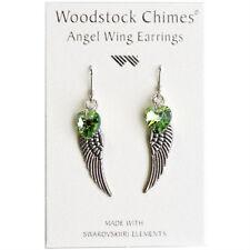Woodstock Chimes Angel Wing Earrings Swarovski Peridot Crystal Heart CWPE