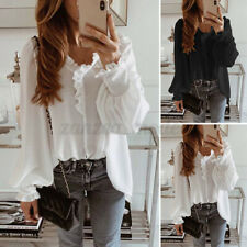 UK Womne Casual Puff Sleeve V-Neck Frill Basic Flowy Formal Blouse Shirt Plus