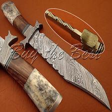 BEAUTIFUL CUSTOM HAND MADE DAMASCUS STEEL HUNTING BOWIE KNIFE BONE & WOOD HANDLE