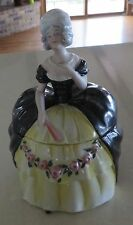 TALL FIGURAL LADY POWDER JAR TRINKET BOX DRESSER DOLL