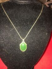 Vintage Silver Gold Plated Jade Pendant On Silver Chain