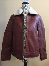 UGG MEN AVIATOR SHEARLING CUFF COLLAR LEATHER JACKET COAT ESPRESSO Size S-TAG