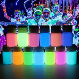 12 stk. Leuchtfarbe Nachtleuchtfarbe Paint Leuchtpigment Gouache Graffit Pinsel