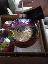 "Rare Christopher Radko Celebrations Large Glass Ball 3 1/2"" Set of 4 Multi-color"