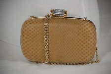 Italian authentic brown lizard clutch; brass shoulder strap chain;FACTORY PRICE