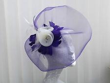 PURPLE/IVORY  FLOWER CRINOLINE  FEATHER FASCINATOR HAT/HATINATOR - By ValerieJ