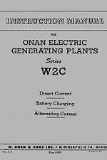 Onan Electric Generating Plant Instruction Manual