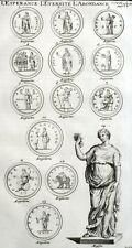 Medaglie Statua Speranza Eternità Abbondanza Montfaucon Antico Incisione