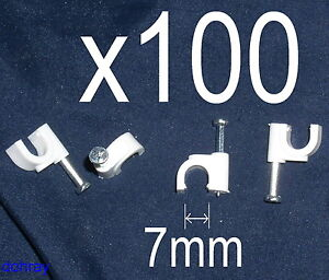 BOX OF 100 WHITE CABLE CLIPS For 7mm Round Wire ~ TV/Satellite/Aerial coaxial