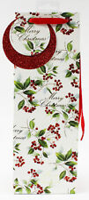 Merry Christmas Bottle Bag Luxury Traditional Wine Spirit Gift Tag Holly Handles