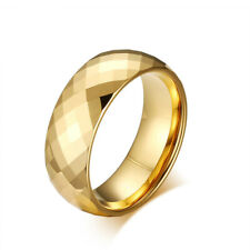 Men's Tungsten Carbide Wedding Engagement Ring Yellow Gold Plated Band 8mm