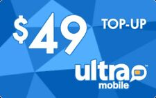 Ultra Mobile  Prepaid $49 Refill Top-Up Prepaid Card ,PIN / RECHARGE