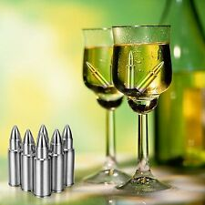 6Pcs Bullet Shaped Stainless Steel Ice Cube Whisky Stones Wine Coffee Chiller