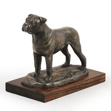 Bullmastiff, dog bust/statue on wooden base, UK