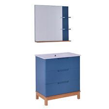 Kleankin Set Mobili Bagno 3 Pzi: Mobiletto, Lavandino e Specchio, MDF Blu