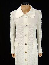 DOLCE & GABBANA Designer Coat SIZE 42 US 6 Ivory Macrame Lace Logo Button Jacket