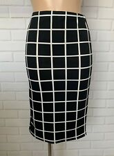 BLACK WHITE SQUARE CHECK PENCIL TUBE WIGGLE STRETCH KNEE SKIRT SIZE 10 - 20