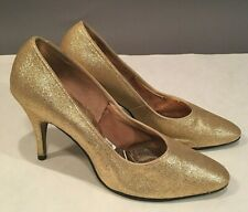 Vintage O'Connor & Goldberg Gold Glitter Stilettos High Heels Pumps Size 7.5 B
