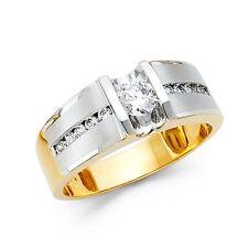 Mens Engagement Ring Solid 14k Yellow White Gold Wedding Band Round CZ Satin