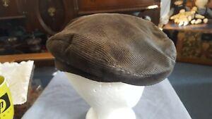 Flat Cap Snap Bill Hat brown Corduroy Size 7-1/4 - 7-3/8  very broke in (002