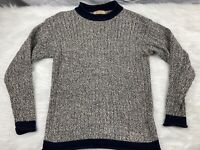 VTG Guess Heavy Knit Grey/Blue Pullover Sweater • Men's Size M • 100% Cotton