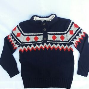 Gymboree King Of Cool Fleece Collar Pullover Sweater Boys Sz 5/6 Red Gray Blue