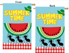 """SUMMER TIME WATERMELON ANTS 2-SIDED LARGE HOUSE FLAG 28"""" X 40"""""""