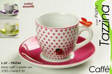 TAZZINA CAFFE' DECORATA FARFALLA COCCINELLA CON PIATTINO COLORI ASS. LAV-596544