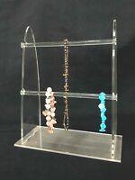 2 Tier Bracelet Jewelry Displays Stand Acrylic Clear T-Bar Bracelet Necklace