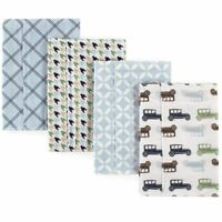 Hudson Baby Flannel Burp Cloth, 4-Pack, Cars
