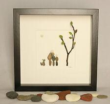 Pebble art Family of three and dog