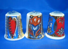 Birchcroft Thimbles -- Set of Three -- Gold Designs with Glass Crystals