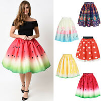 Xmas Halloween Watermelon Lemon A-Line Flare Knee Length Pleated Party Skirt