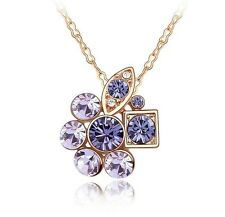 18K Gold GP Made With Swarovski Crystal Unique Design Necklace purple