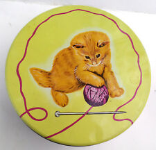 Big Tin Kitten with Yarn Cats Metal Tin Sewing Tin 10 Inches Across