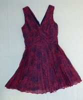 Whistles Coral Pink Blue Wrap Front Pleated Flared Floaty Skater Dress UK 10