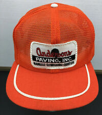 VTG Anderson's Paving Large Patch Full Mesh Trucker Hat Cap Stripe Made USA F