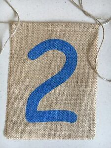 highchair birthday banner baby 2nd Burlap Hessian Child Party Blue Party Second