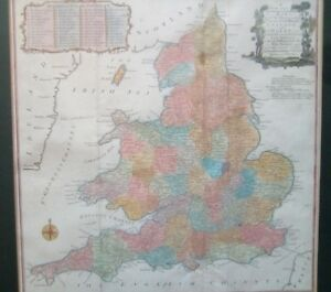 Framed antique map of the England & Wales