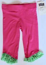 I TWIRL Boutique Baby Girl's Sz 18 M Pink Green Ruffled LEGGINGS *HB