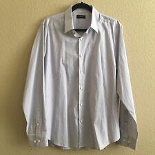 Theory Men's Sylvian Long Sleeve Purple Pinstriped Button Down Shirt L $195