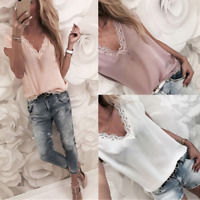 Plus Size Tops Fit Casual Lace UK Ladies sexy T Shirt Blouse comfy Short Sleeve