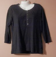 Womens CHICO'S Black 3/4 Sleeve Shirt Size 2 Large Cotton Blend