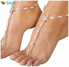 2 Piece Starfish Barefoot Sandals Bridal Foot Jewelry Beaded Beach Destination