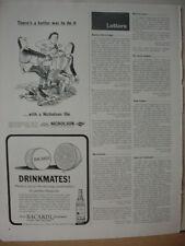1965 Bacardi Rum Drinkmates with Lemon Vintage Print Ad 10344