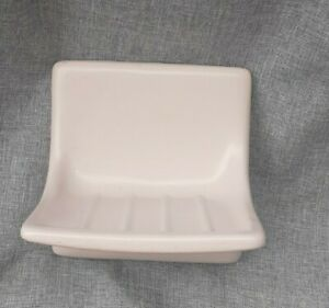 Vintage Ceramic Soap Tray Dish Holder Wall Mount Light Pink Gloss Fixture