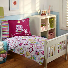 Owl Themed Toddler Crib Bedding Set Girl Kids Bed Spread Sheet Pillow Case 4pc