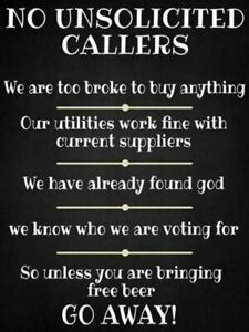 No Unsolicited Callers Metal Sign Plaque Funny Novelty Wall Free Beer 15 x 20cm